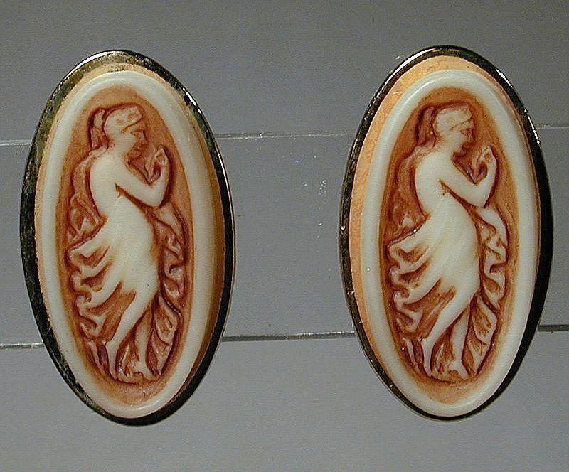 Vintage Carved Stone Cameo Dancing Girl Clip-Back Earrings