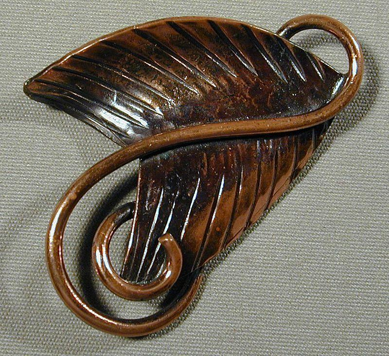 Modernist Rebajes Copper Triangle Leaf and Coil Pin Brooch