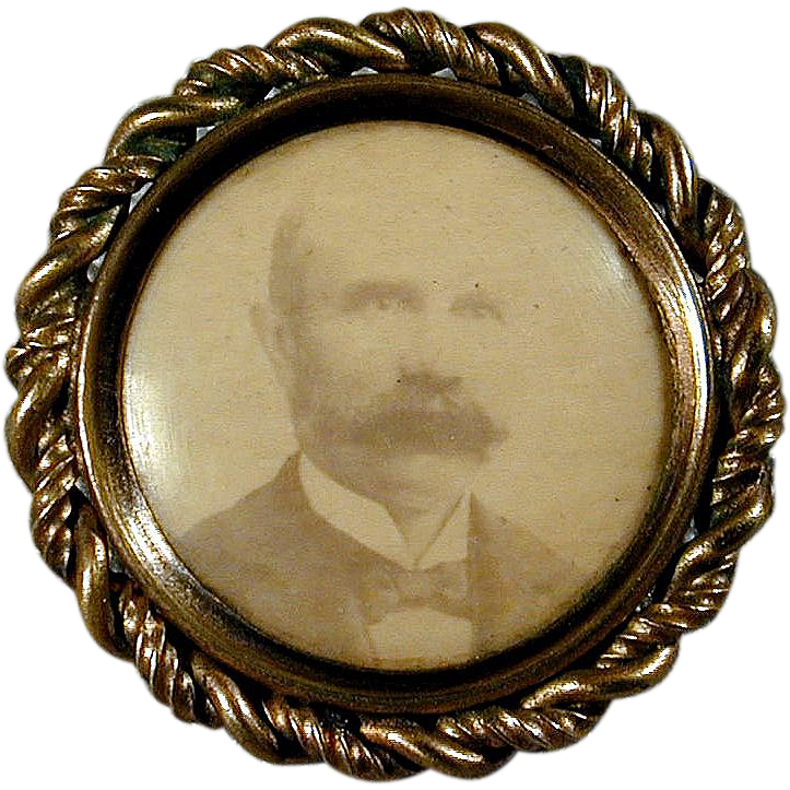 Antique Victorian Miniature Framed Photo Pin Mustache Man