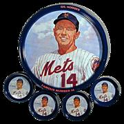 1969 Gil Hodges N.Y. Mets Tin Tray & Coasters Set