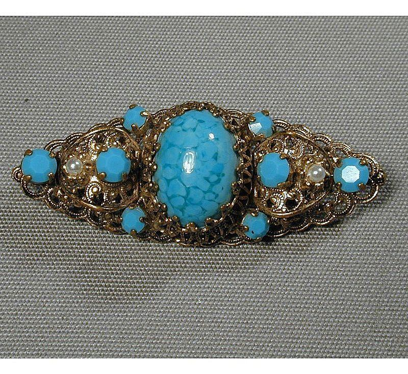 Vintage Pretty Goldtone Filigree Pin w/ Turquoise Stones