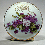 Vintage 1950s MOTHER Porcelain Vase w/ Violets