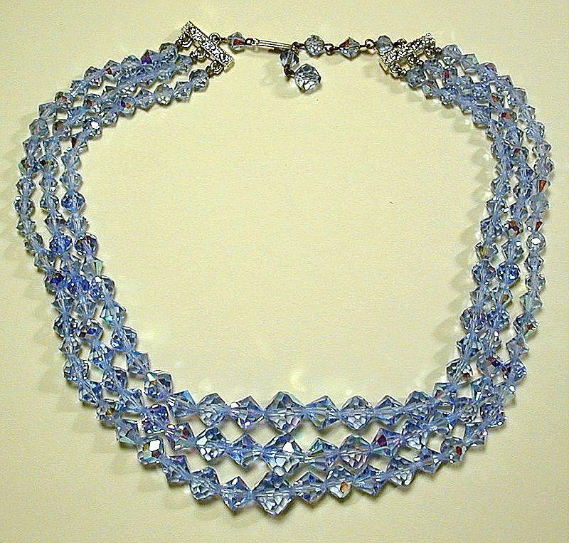 Vintage Blue Crystal Bead Necklace - A Trio of Glitter