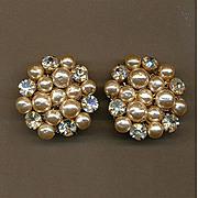 Miriam Haskell Rhinestone Baroque Faux Pearl Earrings