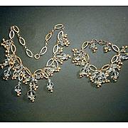Vintage Goldtone & Crystal Dangles Necklace & Bracelet Set