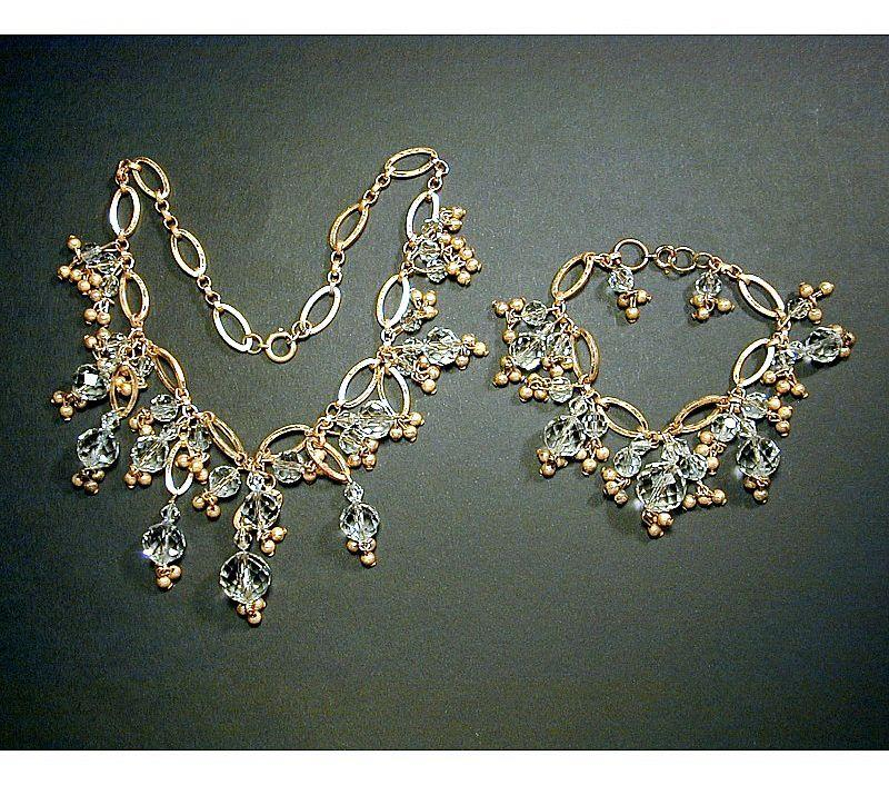 Vintage Goldtone & Crystal Dangles Necklace & Bracelet Set