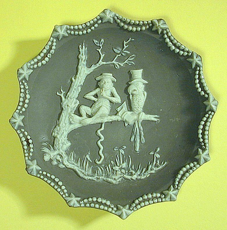 Old Bas Relief Plaque Parrot & Monkey Pottery