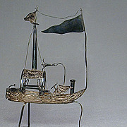 Vintage Sterling Silver Filigree Ship Figurine Odd Boat on Legs w/ Flags