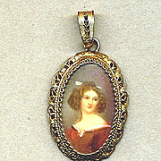 Vintage 800 Silver Filigree Pendant w/ Pretty Lady Portrait