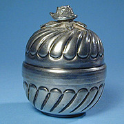 Mid-Century Belgium 900 Silver Rose-Topped Box - Handwrought