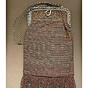 Vintage Art Deco French Micro Cut Steel Beaded Handbag c1930