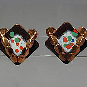 Vintage 1950s MATISSE Enamel & Copper Earrings