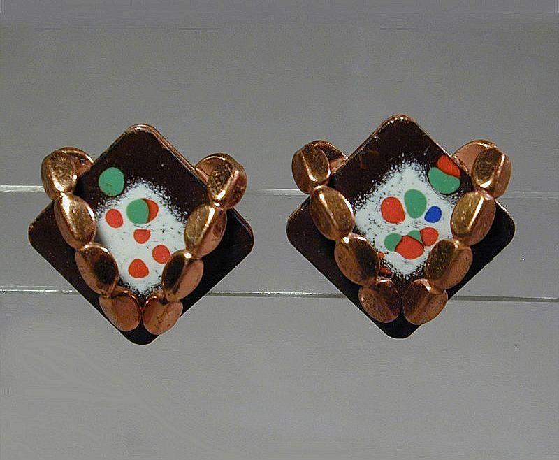 Vintage 1950s MATISSE Enamel & Copper Earrings