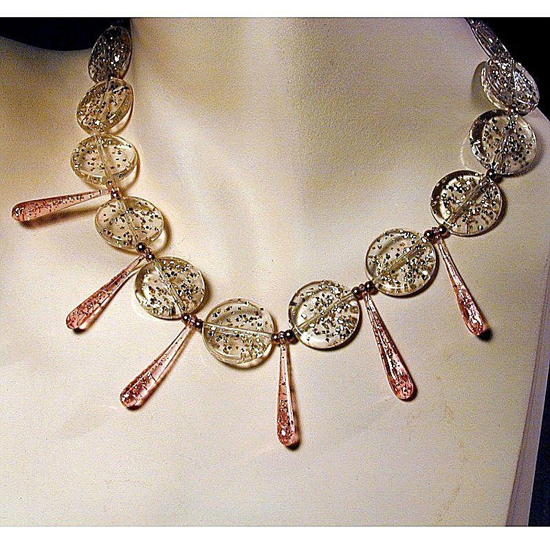 Vintage Clear Confetti Lucite Necklace w/ Pink ~Teardrops~