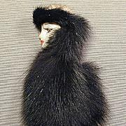 Vintage Face Pin - Woman Swathed in Genuine Fur Brooch