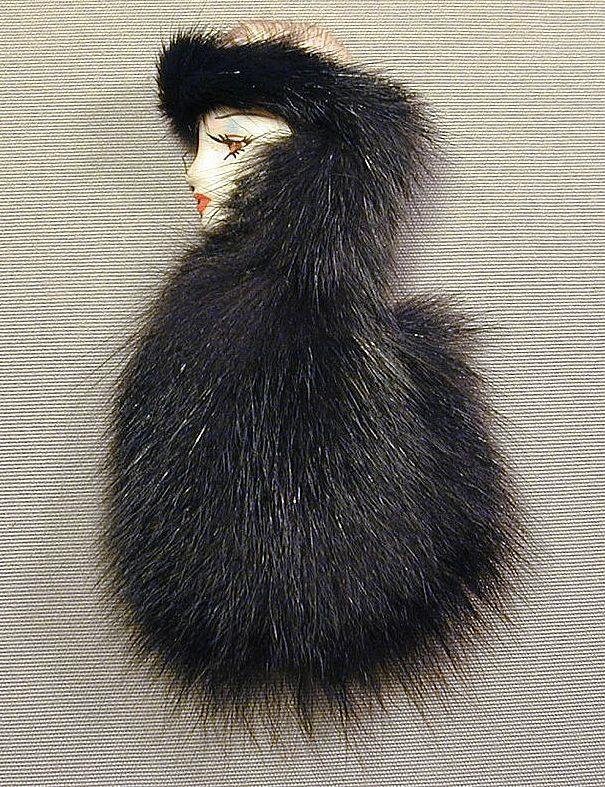 Vintage Face Pin - Woman Swathed in Genuine Fur Brooch