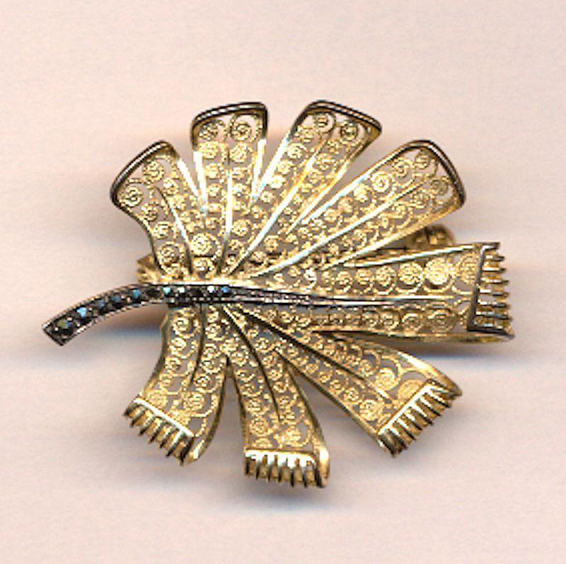 Alice Caviness 1950s Sterling Silver Filigree LEAF Pin