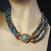 Vintage FLORENZA Tri-Strand Beaded Necklace w/ Great Clasp