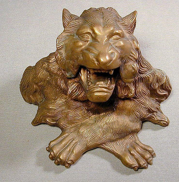 Ferocious Roaring Lion Bronze Inkwell