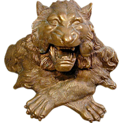 Ferocious Roaring Lion Bronze Inkwell - Red Tag Sale Item