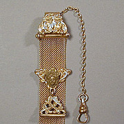 Antique Victorian Gold-Plated Watch Fob w/ Art Nouveau Face