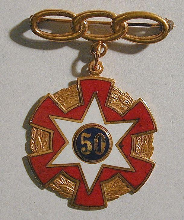 Vintage ODD FELLOWS IOOF Enamel 50-Year Medal Pin