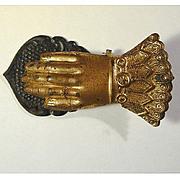 Antique Victorian Tin Tole Ware Figural HAND Clip