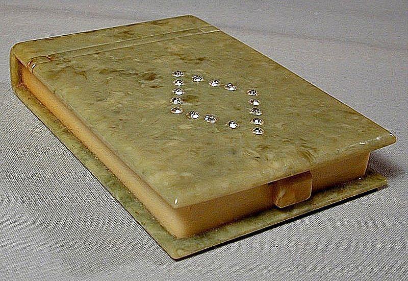 Art Deco 1920s Celluloid Snuff Pill Box w/ Rhinestones