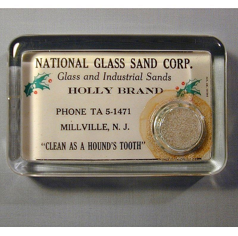 Vintage c1920 Advertising Glass Paperweight N.J. Glass Co.