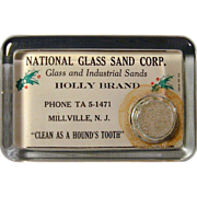 Vintage c1920 Advertising Glass Paperweight N.J. Glass Co. - Red Tag Sale Item