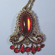 Vintage HOBE Red Rhinestone Dangles Pin / Pendant Necklace