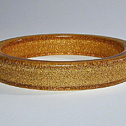 Vintage Lucite Applejuice Gilt Confetti Bangle Bracelet