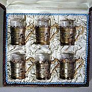 Vintage Etched 900 Silver & Glass Set of Demitasse Cups