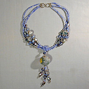 Blue Bead Necklace w/ Chinese Reverse-Painted Glass Balls - Exquisite