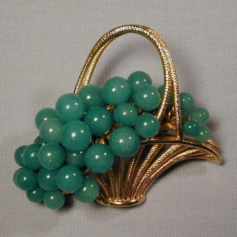 Estate Gold-Plated Basket Pin Filled w/ Jade Beads
