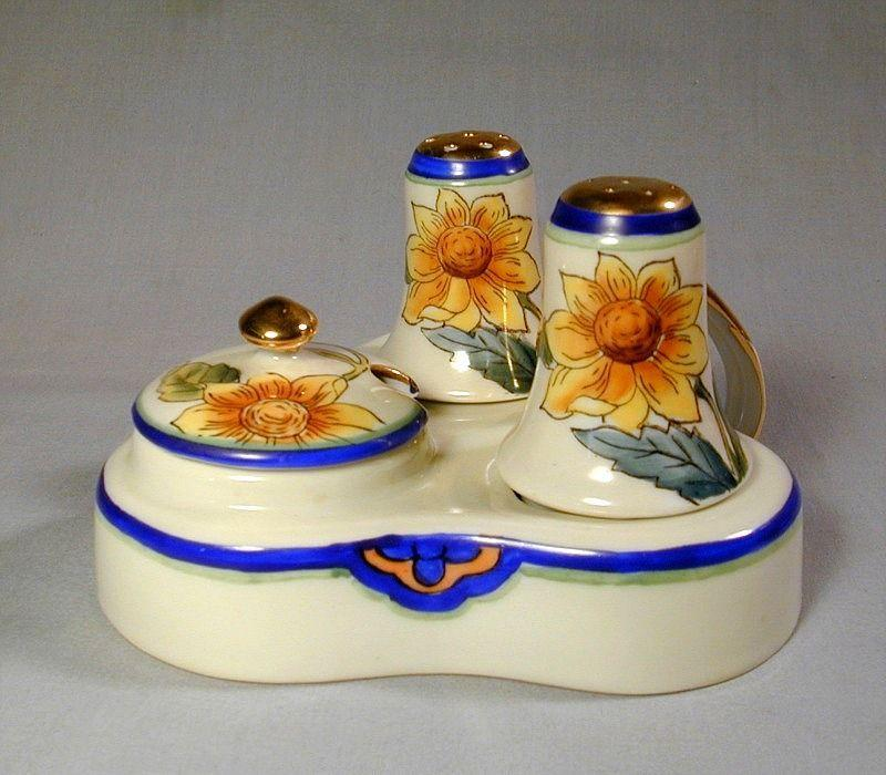 Vintage Noritake Hand Painted Condiment Salt Pepper Set