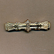 Antique Victorian Fancy Gold-Topped Engraved Enameled Bar Pin Brooch