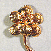 Art Deco  Sterling Silver Vermeil Big Flower Pin w/ Rhinestones