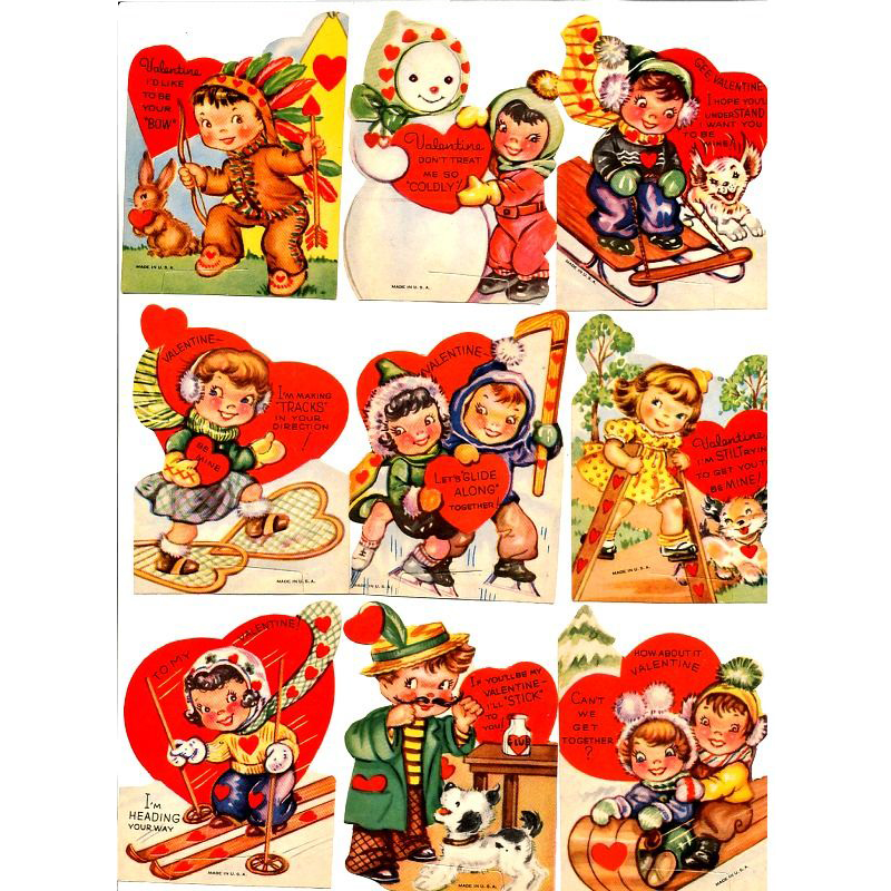 Lot of 1940s Valentine Cards Kids Sports Hearts Puppy Love – Sports Valentines Cards