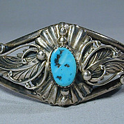 Vintage Navajo Sterling Silver & Turquoise Cuff Bracelet