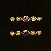 Antique Pair of 14K Gold Petite Bar Pins w/ Pearls & Amethyst