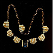 Original Very Art Deco c1930 Brass Necklace w/ Glass Intaglio