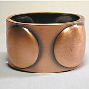 Big Modernist Burnished Copper Cuff Bracelet w/ Big Orbs