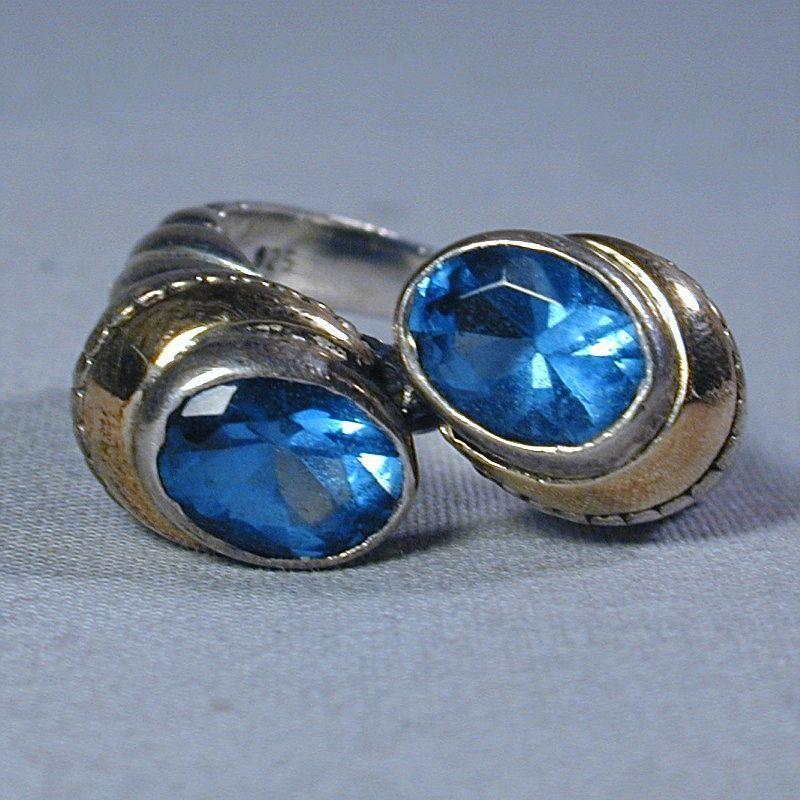 Vintage Sterling & 14K Gold Topaz Ring - A Double Header!