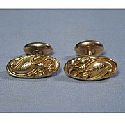 Victorian Antique 14K Gold Cufflinks Art Nouveau Floral Repousse