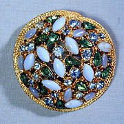 Signed ART Rhinestone Dome Pin Brooch - Quite an Eyeful