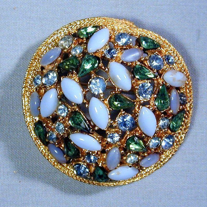 Signed ART Rhinestone Dome Pin Brooch - Colorful Eyeful