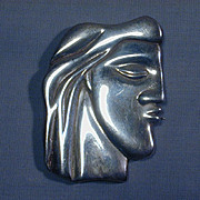Modernist Sterling Silver Man's Head Pin Pendant - Puckered Up