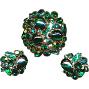 Amazing Colors - KRAMER Demi Parure Pin & Earrings Set