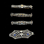 Art Deco Era 14K White Gold Filigree Mom & Baby Babies Pin Set